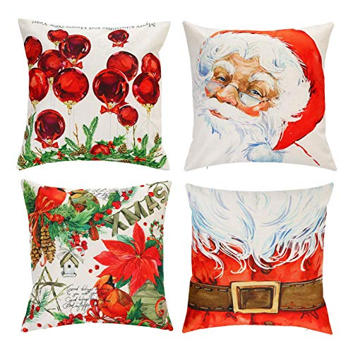 JORAIR Christmas Pillow Covers, Christmas Pillow Covers 18x18 Inches Set of 4 for Christmas Decor, 4 Different Christmas Pattern for Christmas Decorations, Christmas Pillow Cases, Santa Claus