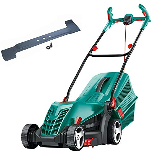 Bosch Electric Rotary Lawn Mower Rotak 34 R (1300 W, in Carton Packaging) + Bosch Replacement Blade for Rotak 34/34GC (Old Version) Lawn Mowers