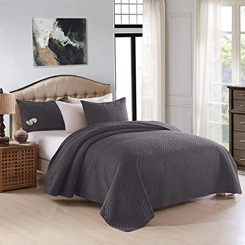 MERRY HOME Bettwäsche-Set für Doppelbetten, 223,5 x 233,7 cm, Tagesdecke mit Kissenbezügen, knitterfrei, farbecht & schmutzabweisend, für alle Jahreszeiten, Grau