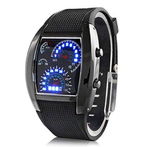 Babysbreath17 Reloj de Pulsera Relojes de Silicona LED analógico de Acero Inoxidable Reloj de los Deportes de los Hombres