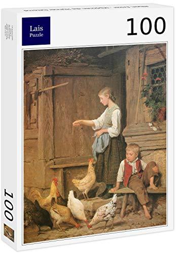 Puzzle Albert Anker   Chica alimentando a los Pollos 100 Piezas