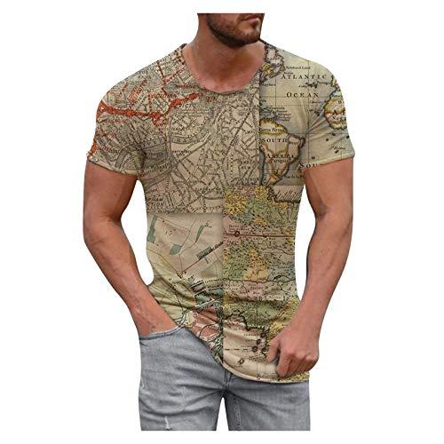 Camiseta unisex con impresión 3D divertida, para hombre, verano, moda informal, mapa del mundo 3D, impresión de abejas, manga corta, cuello redondo, estampado, tallas S-XXL caqui M