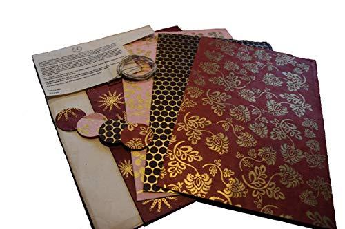 Maharanis Fairtrade Handgeschöpftes Papier Lokta Daphne Papier zum Verpacken, Basteln und mehr 4er Set warme Töne aus nachhaltiger Handwerksfertigung
