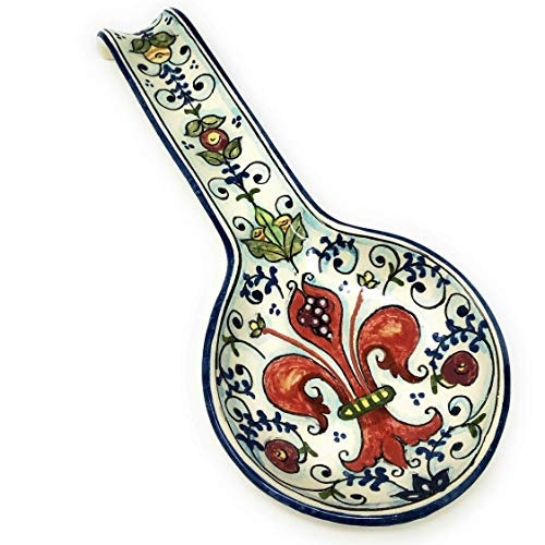 CERAMICHE D'ARTE PARRINI - Italian Ceramic Spoon Rest Holder Decorated Lily Pottery Hand Painted Made in ITALY Tuscan