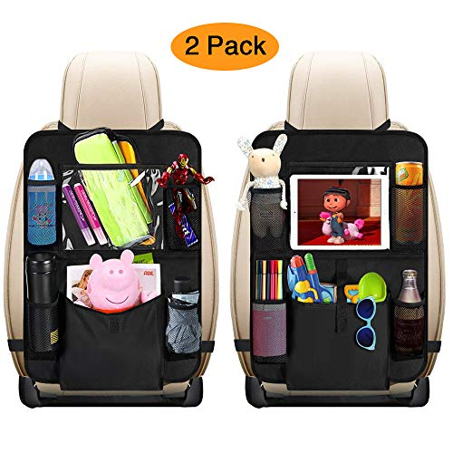 "mixigoo Car Back Seat Organizer Kids - Car Organizers Covers Protectors with 10"" Touch Screen Tablet Holder Large Storage Pockets Kick Mats for Toy Cartoon Journey Travel Accessories (Large Pocket)"