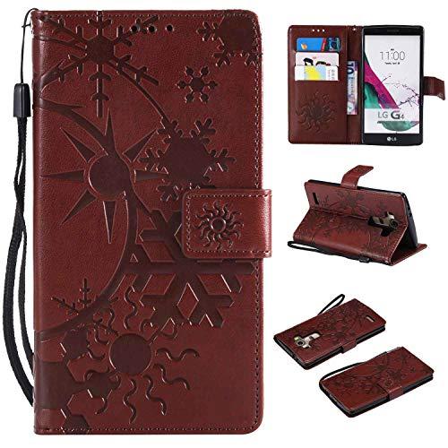 Ycloud Einzigartig PU Leder Tasche für LG G4 Wallet Flipcase mit Standfunktion Kartenfächer Entwurf Sternenhimmel Prägung Braun Hülle