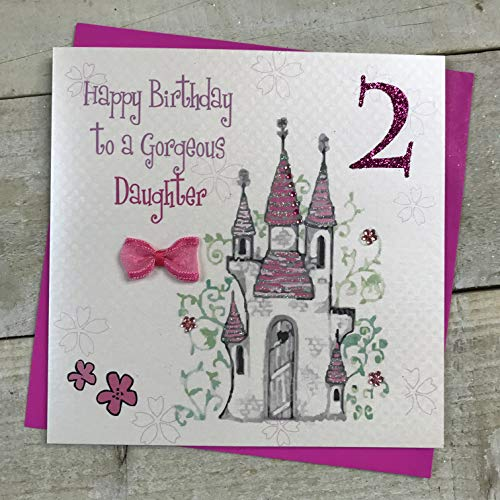 Witte Katoenen Kaarten Gelukkig Prachtige Dochter, Handgemaakte 2e Verjaardagskaart (Prinses Kasteel, Leeftijd 2)