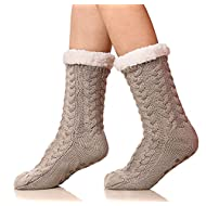 SDBING Women's Winter Super Soft Warm Cozy Fuzzy Fleece-Lined with Grippers Slipper Socks