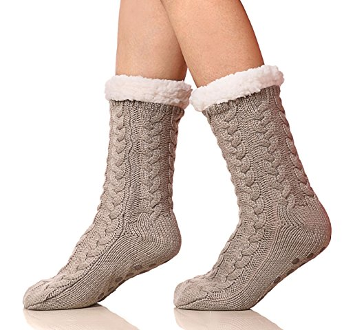 SDBING Womens Winter Super Soft Warm Cozy Fuzzy Fleece-Lined with Grippers Slipper Socks (Light Gray)