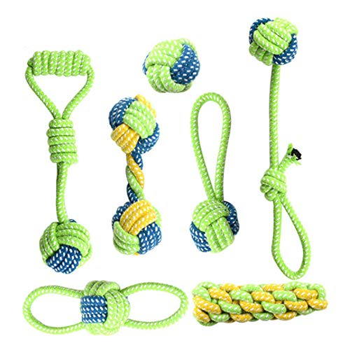 ELLIARY Dog Toys Dog Rope Toys for Medium Dogs and Small Dogs, Clean Teeth Teething, Tug of War - Tough Dog Toys, Dog's Best Gift,Set of 7-Piece Assortment.