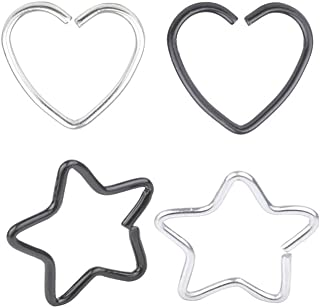 4 Pcs Mix Surgical Steel Heart/& Star Shaped Lip Ear Nose Hoop Ring Earrings Clip Non Piercing Jewelry /&10 A