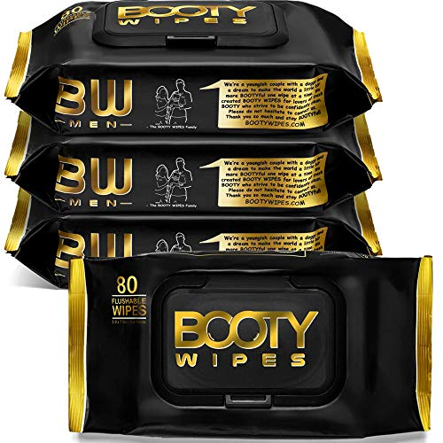 BOOTY WIPES for Men - 320 Flushable Wet Wipes for Adults, Man Wipes Infused with Vitamin-E & Aloe (320 Wipes Total - 4 Flip-Top Packs of 80)