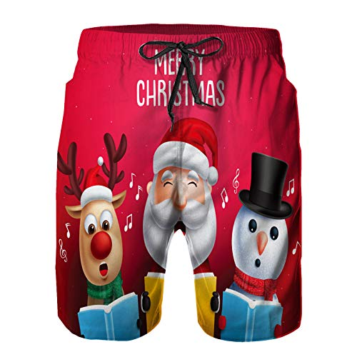 Men's Quick Dry Drawstring Beach Shorts Pants,Christmas Vector Characters Like Santa Claus,Summer Surf Long Swim Trunks Board Shorts M