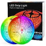 Tiras LED de 12M (6M*2) con Controlador Bluetooth, Sincronización Musical, Control Remoto IR de 40 Teclas, Luz LED RGB 5050 Controlada por Teléfono Móvil, Apta para Televisor, Dormitorio.