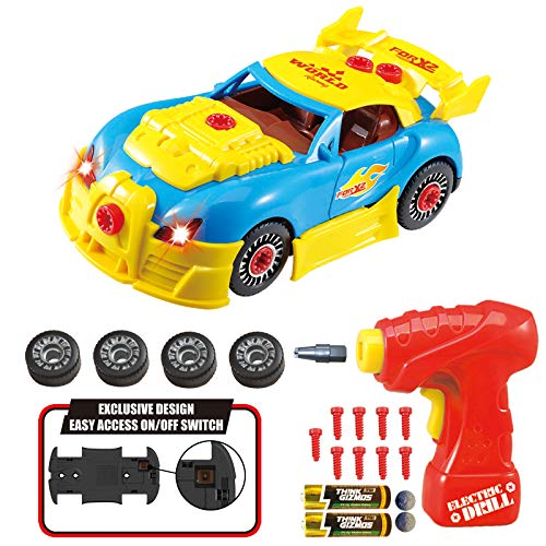 Think Gizmos Coche de carreras tipo juguete desmontable - Juguete de construcción con kit de herra-mientas - Juguetes niños 2 años y más - Juegos educativos montaje coche de juguete - Nueva Versión 3