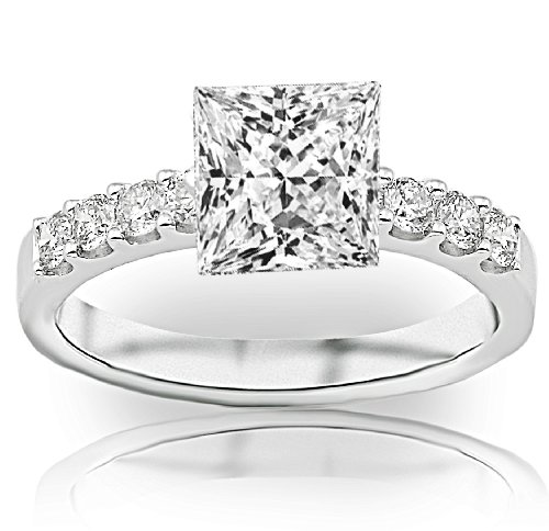 1 Carat Princess Cut Classic Prong Set Diamond Engagement Ring (D-E Color, SI1-SI2 Clarity)