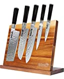 "Max K Magnetic Knife Block without Knives - Chef Knife Stand - Magnetic Knife Blocks - Acacia Wood with Solid Base, Anti-Slip, and Won't Tip Over - 10.8"" x 3.9"" x 8.3"""