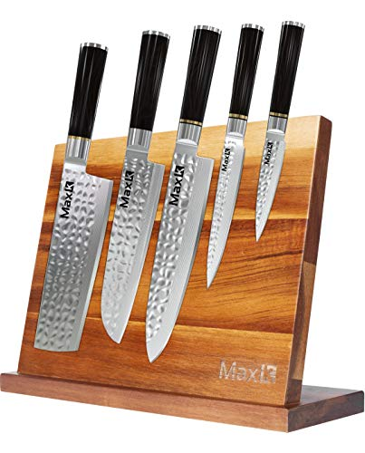 Max K Magnetic Knife Block without Knives - Chef Knife Stand - Magnetic Knife Blocks - Acacia Wood with Solid Base, Anti-Slip, and Won't Tip Over - 10.8' x 3.9' x 8.3'