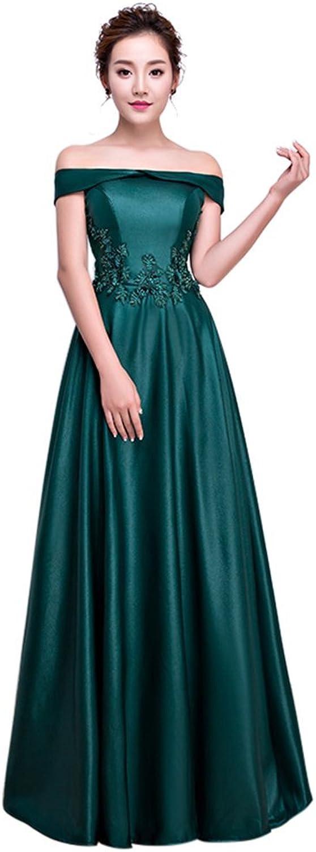 Drasawee Women's Off Shoulder Satin Flower Prom Dresses Elegant Long Evening Gowns