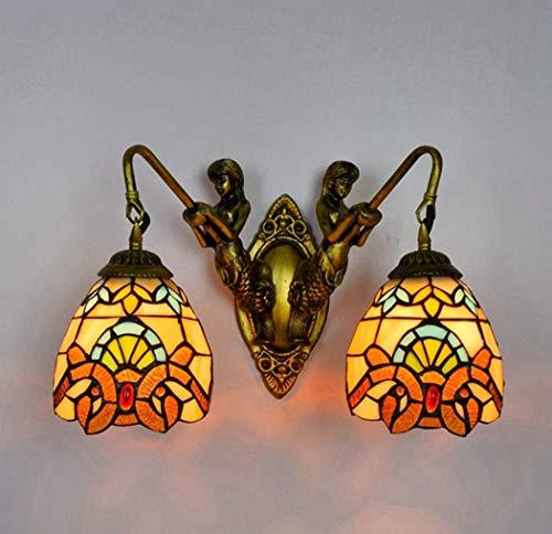 AWCVB Luz De Pared De Arte Tiffany, Lámpara De Pared De Vidrieras Vintage De 8 Pulgadas Iluminación De Lámpara De Pared para Dormitorio