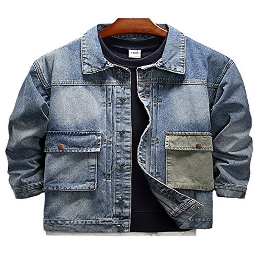 Tendencia Coreana Otoño Hombres Hip Hop Vintage Carga Denim Chaqueta Streetwear Slim Casual Jeans Chaquetas Outerwear 9901 Blue XXL