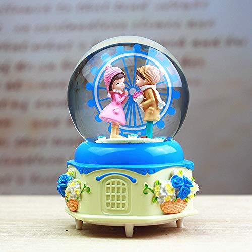 Crystal Ball,Ferris Wheel Couple Music Box-Regalo De San Valentín,A