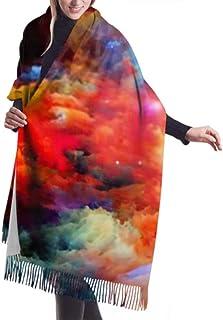 Bufanda de invierno unisex, serie Dreamscape Interplay colorida pintura fractal larga y larga bufandas cálidas envoltura chal estola