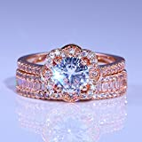 Allywit Rose Gold Plated Cubic Zirconia Cut Double Band Engagement Wedding Ring Set Jewelry Gift (6, Rose Gold)