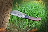 Damascus Steel Tracker Knife, Handmade Full Tang Knife - Damascus Hunting Knives, EDC Knife, Hand Forged Fixed Blade Knife & Survival Knife - Camping Knives & Hiking Knives with Micarta Handle - Leather Knife Sheath