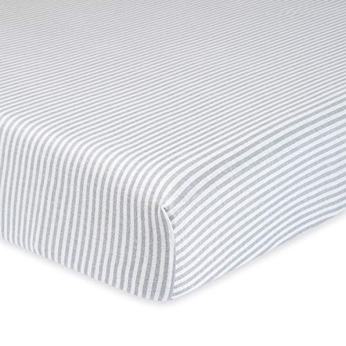 Gerber Boys and Girls Newborn Infant Baby Toddler Nursery Organic Cotton Fitted Bedding Crib Sheet, Grey Stripe, One Size