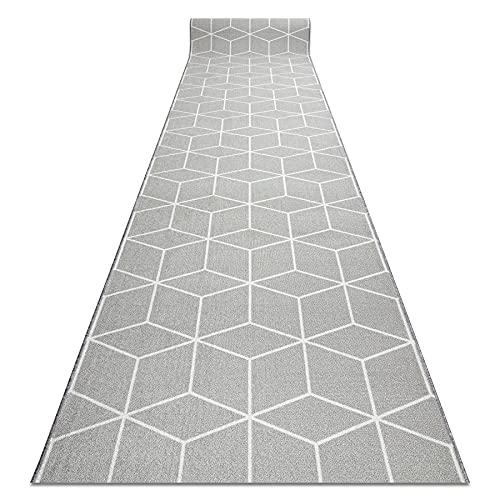 Passatoia Corridoio CUBE antiscivolo, per cucina, corridoio, soggiorno, robusto, moderno, Grigio 120x170 cm