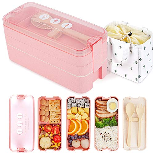 AZAWA Bento Lunch Box 1100ml/38oz, 3-Layer Bento Box with Spoon & Fork for Kids Adult & Office Worker, BPA-Free Wheat Fiber Lunch Box Leak-Proof Food Containers with Bonus Lunch Bag (Pink)