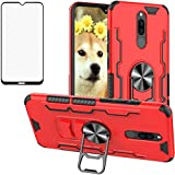 Luosunstar for Xiaomi Redmi 8 / Redmi 8A Case & Tempered Glass Screen Protector,Metal Ring Bottle Opener Kickstand Rugged Armor Heavy Duty Anti-Scratch Dual Layer Shockproof Case,Red
