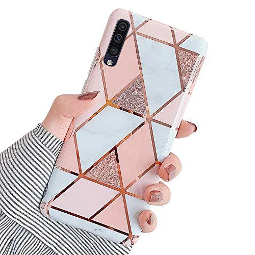 Hpory Kompatibel mit Galaxy A30s Hülle, Handyhülle Samsung Galaxy A50 Marmor Muster TPU Silikon Transparent Bumper Schale Kratzfest Back Hülle Cover Tasche Schutzhülle für Mädchen Damen - Pink Weiß