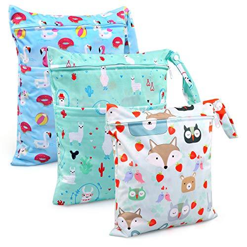 Bolsa de Pañales, BelleStyle 3 Pcs Reutilizable Wetbag, Impermeable Lavable con 2 Cremallera para Mamá de Bebé, Transpirable Organizador de Maquillaje de Colgar, Viajes, Playa, Piscina, Gym (Azul)