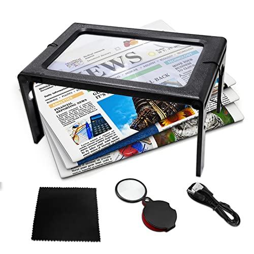 AUTOPkio Lupa de Lectura con Luz LED 3X - Aumentos Lupa A5 Rectangular Manos libres Plegable para Libros, Ancianos, Baja Visión, Costura