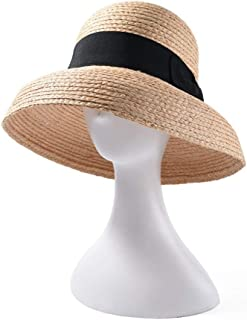 SHENTIANWEI New Lafite Straw hat Spring and Summer hat Ladies Bell Dome Bow Straw hat Elegant Sunscreen Visor (Color : Brown)