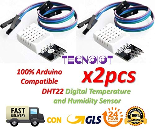 TECNOIOT 2pcs DHT22 Digital Temperature Humidity Sensor AM2302 Module with PCB and Cable | 2pcs DHT22 / AM2302 Temperatur und Luftfeuchtigkeit Sensor für Arduino und Raspberry Pi