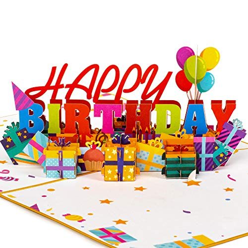 Paper Love Happy Birthday Pop Up Card, 3D Popup Greeting Cards | 5' x 7'