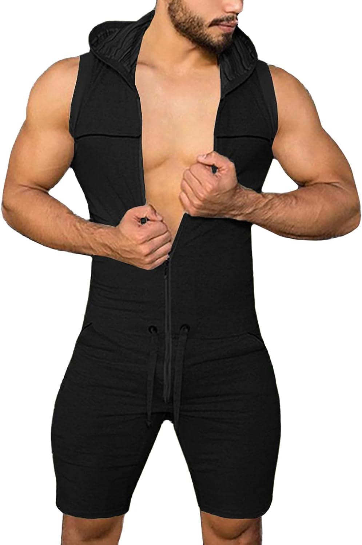 Panegy Men's Jumpsuit Romper Tracksuit Zipper Hoodie 即日出荷 売却 with Draws