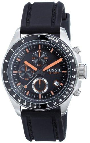 Fossil Herren Analog Quarz Uhr mit Silicone Armband CH2647