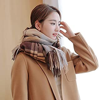 Winter Long Scarf Scarf Female Winter Wild Long Plaid Thick Shawl Autumn and Winter (Color : Burgundy) Winter Soft Scarf (Color : Khaki)