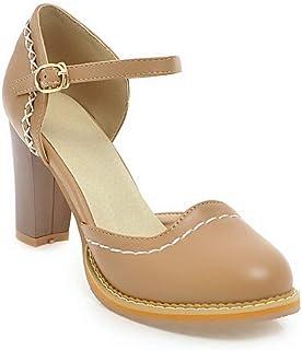 BalaMasa Womens ASL06394 Pu Block Heels