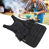 minifinker Küchenschürze, Outdoor Camping Multifunktionsschürzen für Damen/Herren Einfach zu tragen mit abnehmbaren Aufbewahrungstaschen für Outdoor Camping Kochen Cook