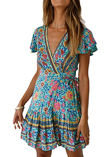 Mosestons Mujer Vestido Bohemio Corto Florales Nacional Verano Sexy Vestido Casual Magas Cortas Fiesta Playa Vacaciones Vestido S-XL