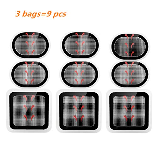 NA - Elektroden Pads in Schwarz, Größe Ellipse : 10cm/3.94×7cm,Square: 10cm/3.94×10cm