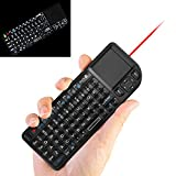 Backlit Mini Wireless Keyboard + Touchpad + Mouse with Laser Pointer, 2.4 GHz USB Remote Control LED illuminated Rechargeable Li-Ion Battery for Android TV Box PC Pad Tablets Laptop