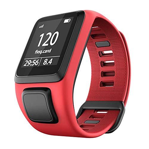 TopTen Correa de silicona para reloj de repuesto, compatible con TomTom Runner 2/3 Series, Spark 3, Golfer 2, Adventurer Smartwatch (rojo)