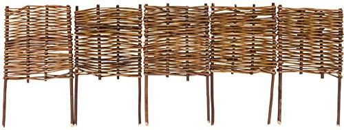 Windhager Beeteinfassung Beetumrandung Steckzaun Weidezaun Palisade Weide, 5-teilig, 100 x 20/35 cm, braun, 06458