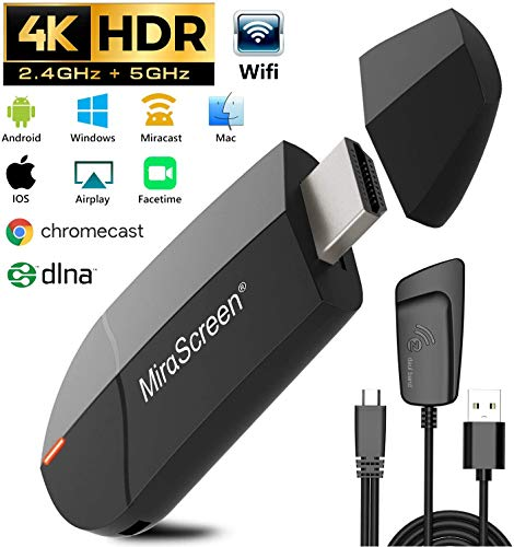 Wireless WiFi Display 4K HD 2.4G 5G Adapter HDMI, Gifort Drahtlos Mini Anzeigeempfänger teilen 4K HD Videos Audio/ Bild/ Live Kamera / Musik vom PC/ Telefon auf TV Monitor Projektor